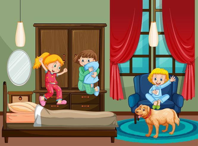 Slaapkamer scène met kind op slaapfeestje vector