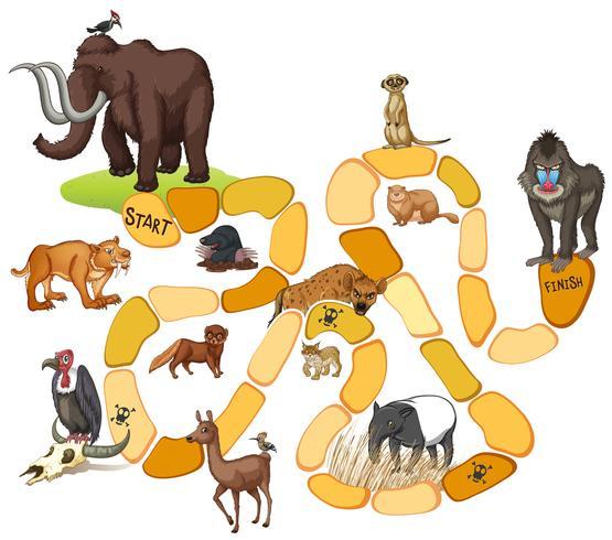 Spelsjabloon met wilde dieren vector