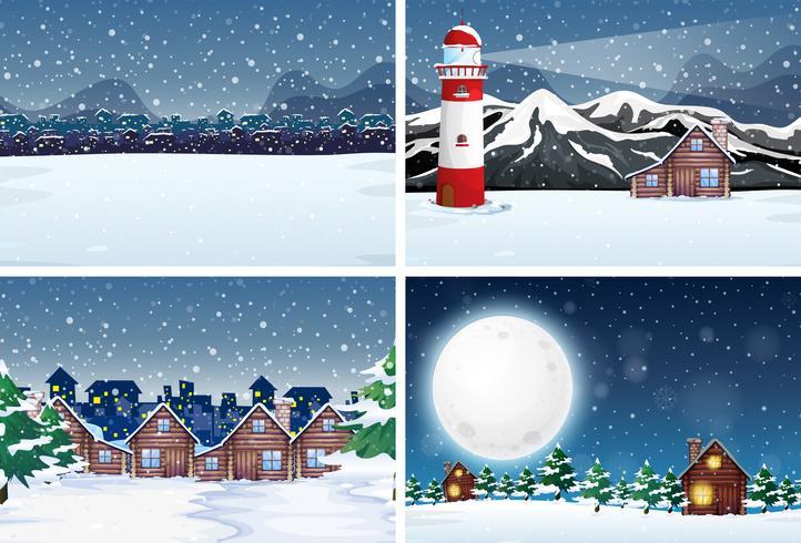 Sneeuwlandschap 's nachts vector