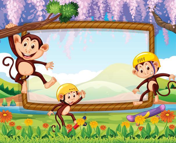 Grensontwerp met drie apen in het park vector