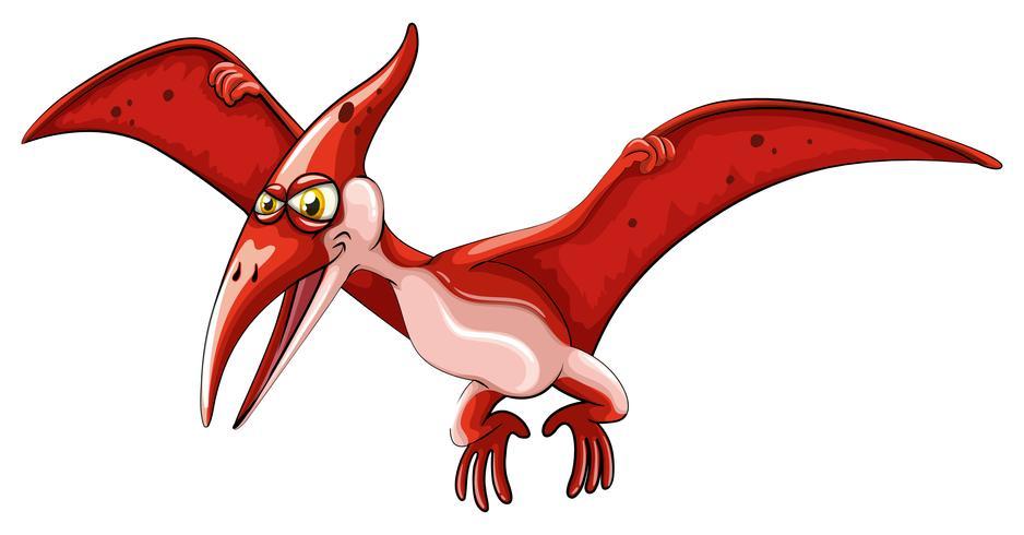 Rode dinosaurus die op wit vliegt vector