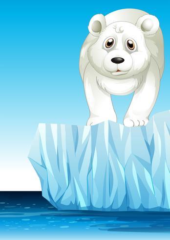 IJsbeer die zich op ijs bevindt vector