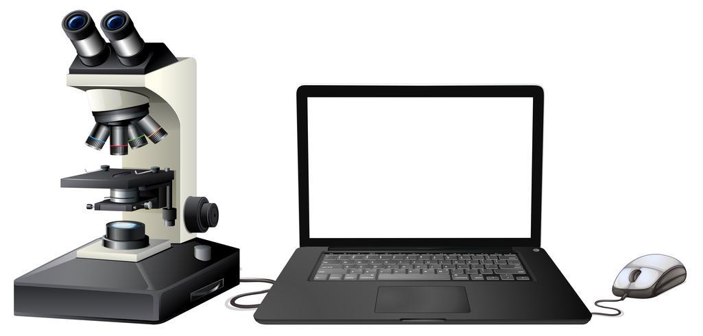 Computer digitale microscoop op witte achtergrond vector