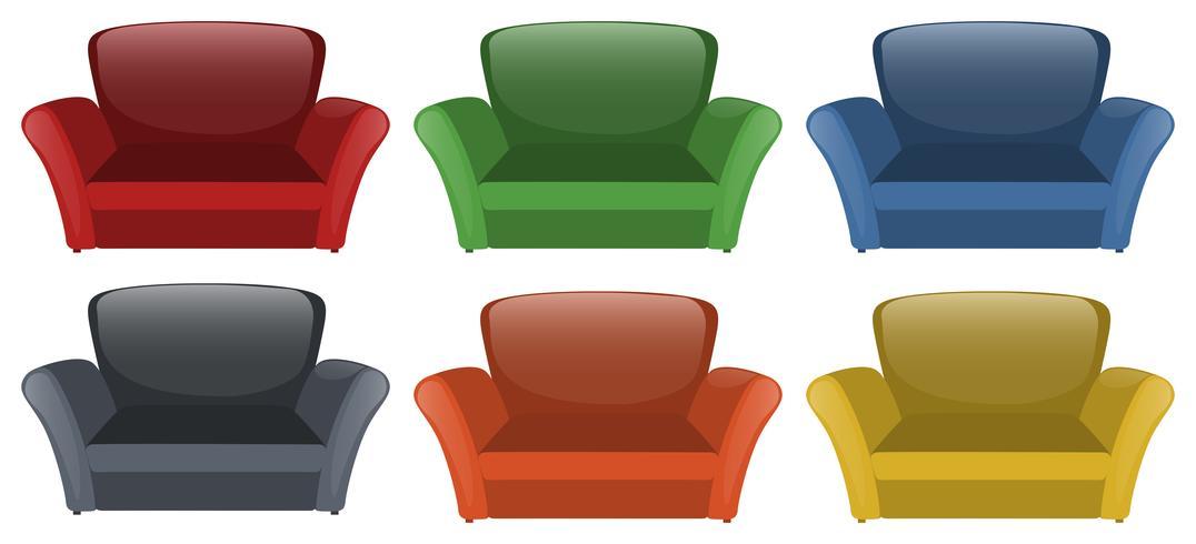 Sofa in zes verschillende kleuren vector