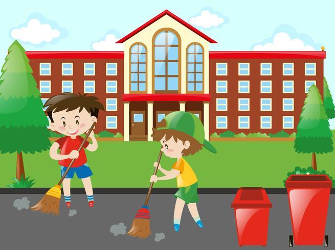 Kinderen vegen de weg vector