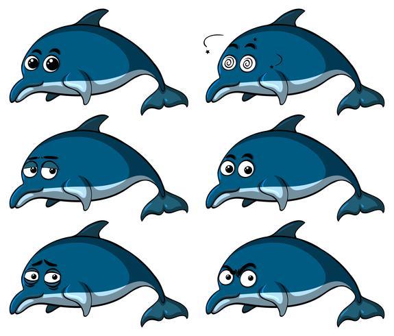 Blauwe dolfijnen met verschillende emoties vector