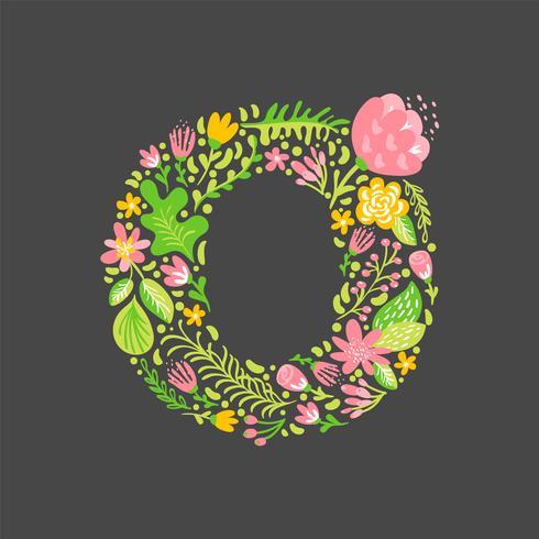 Bloemen zomer Letter O vector