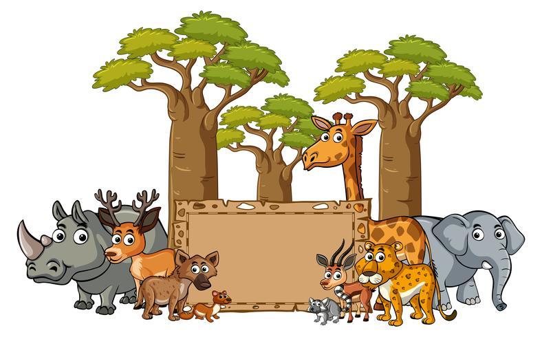 Bannermalplaatje met wilde dieren vector