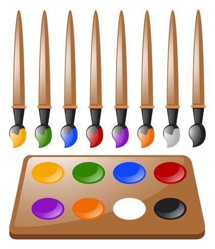 Veel verfborstels en kleurenpalet vector