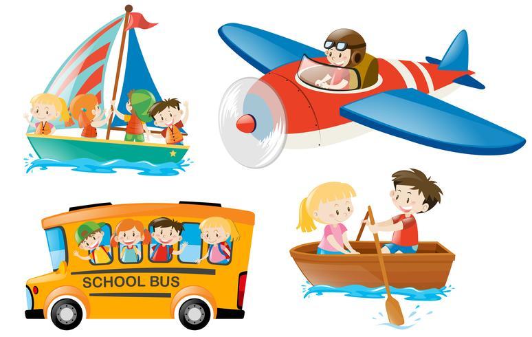 Kinderen rijden op verschillende soorten vervoer vector