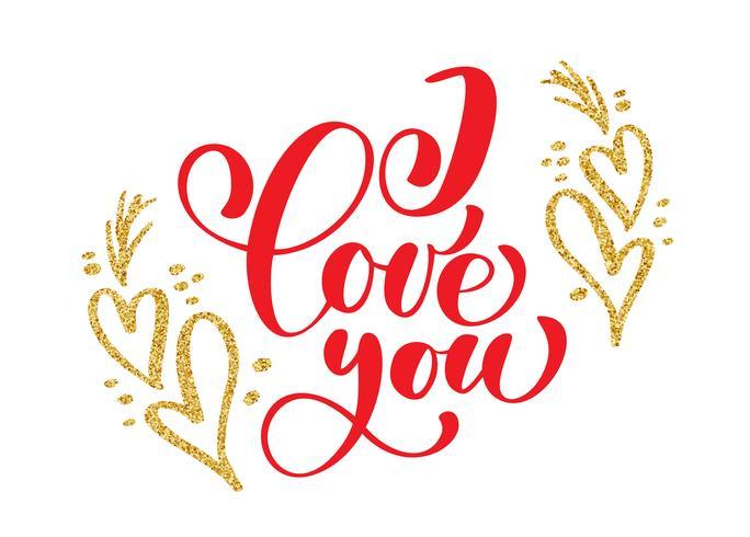 Handgeschreven inscriptie ik hou van je op de achtergrond van gouden hart vector