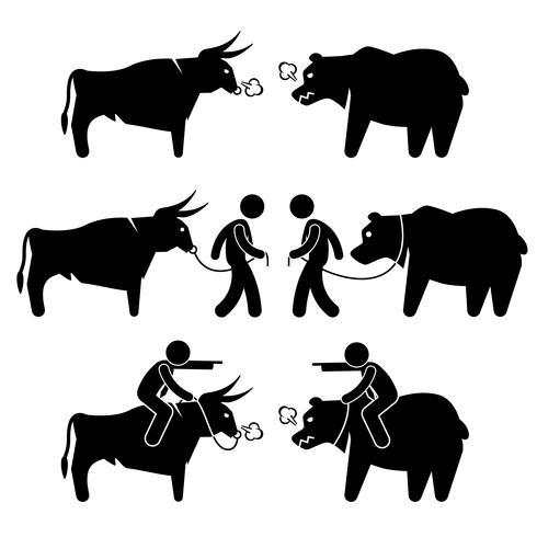 Zakenman Business Man met Bull en Bear stok figuur Pictogram pictogrammen. vector