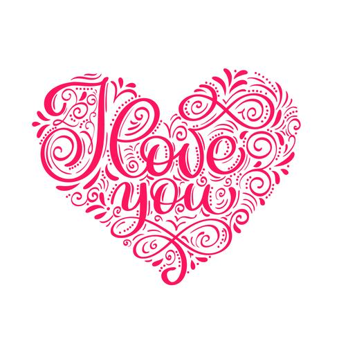 Ik hou van je tekst in je hart. Valentijnsdag kalligrafie glitter kaart vector
