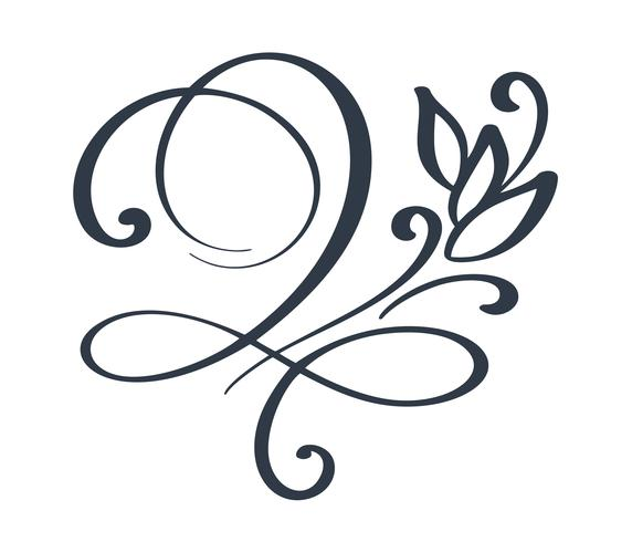 Bloei swirl sierlijke decoratie voor puntige pen inkt kalligrafie stijl vector