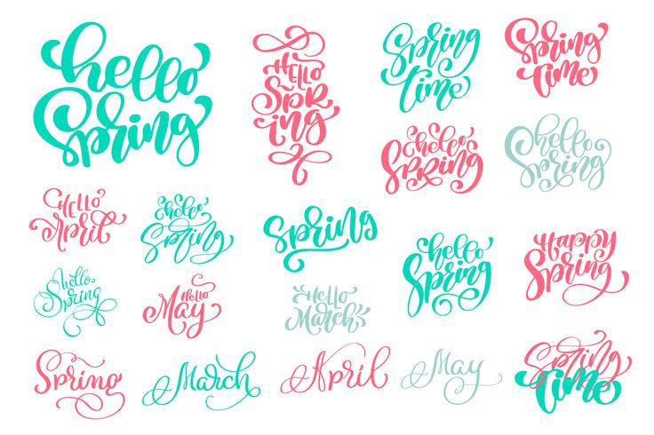 Stel Hello Spring of Hand getrokken quotes in vector