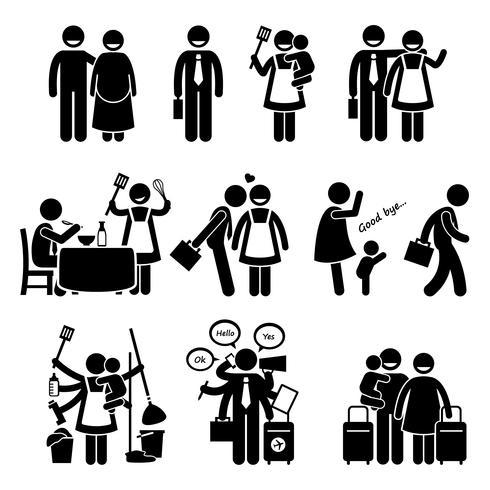Gelukkige familie man en vrouw Drukke levensstijl dagelijkse routine. vector