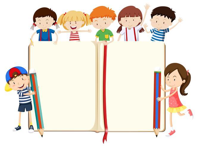 Boekontwerp met jongens en meisjes vector