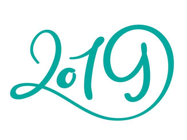 Wenskaart ontwerpsjabloon met chinese kalligrafie 2019 Nieuwjaar grunge nummer 2019 hand getrokken belettering. Vector illustratie