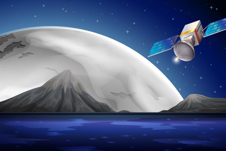 Een satelliet in de buurt van de oceaan vector