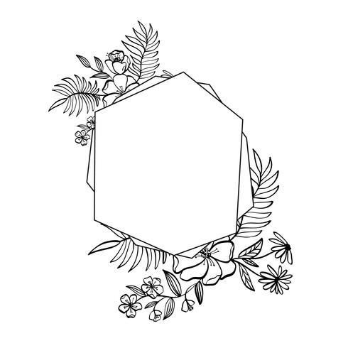 Grafisch bloemengeometrieframe. Vector bladeren en bloemen in schattig vignet geïsoleerd op zwarte achtergrond. Bruiloft stijl decoraties