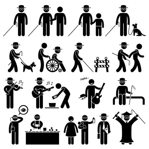 Blinde Man Handicap stok figuur Pictogram pictogrammen. vector