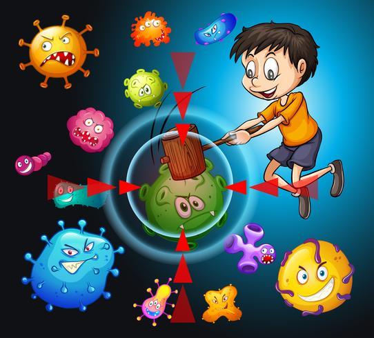 Weinig jongen die bacteriën bestrijdt vector
