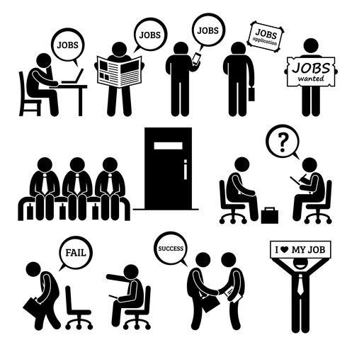 Man op zoek naar baan werkgelegenheid en Interview stok figuur Pictogram pictogrammen. vector