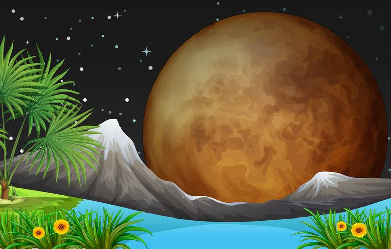 Natuurtafereel met volle maan 's nachts vector