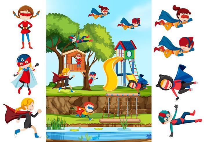Set van meisje superheld en playgrounf achtergrond vector