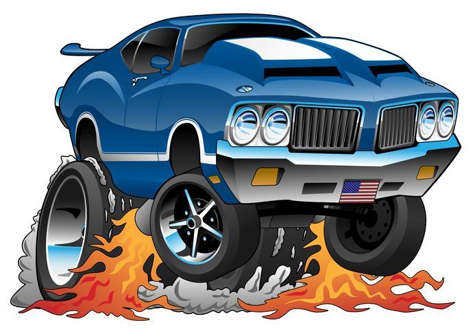 Klassieke jaren 70 American Muscle Car Hot Rod Cartoon vectorillustratie vector
