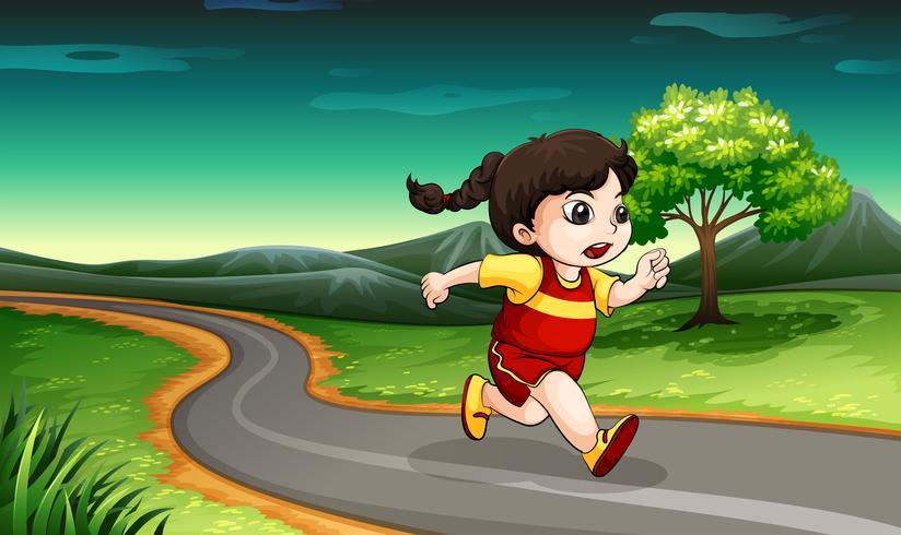 Een jong meisje aan het rennen vector