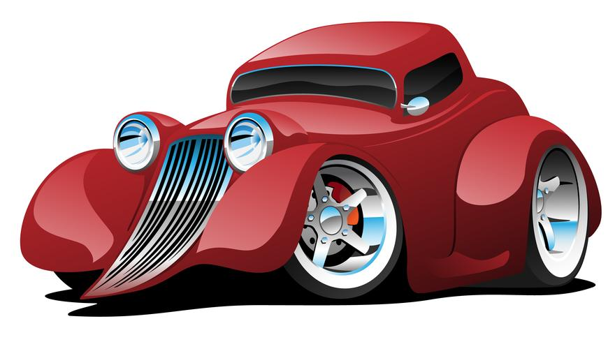 Roodgloeiende Rod Restomod Coupe Cartoon Car Vector Illustration