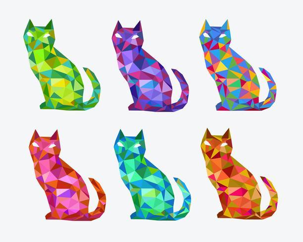 Abstracte veelhoekige gekleurde katten vector