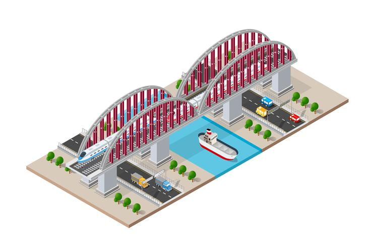 Spoorweg isometrische brug vector