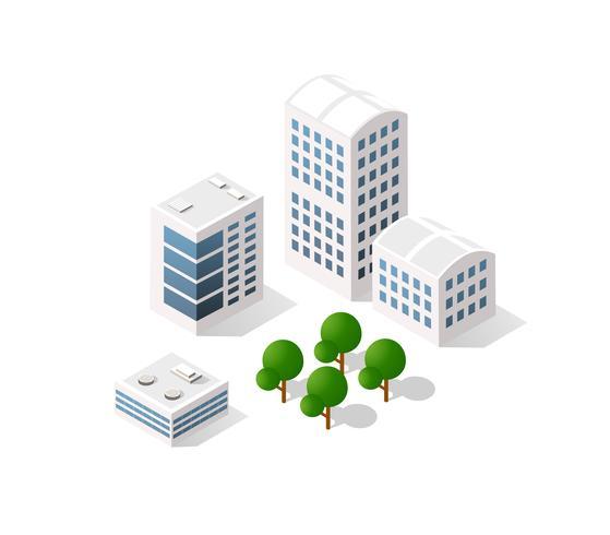 Isometrische vectorillustratie van een moderne stad vector