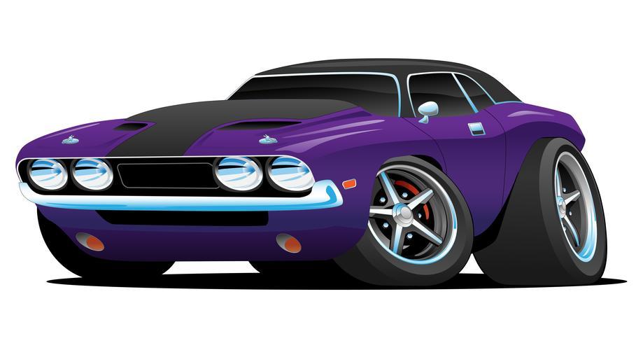 Klassieke Amerikaanse Muscle Car Cartoon vectorillustratie vector