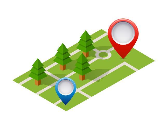 Isometrische pin pictogram op de navigatiekaart vector