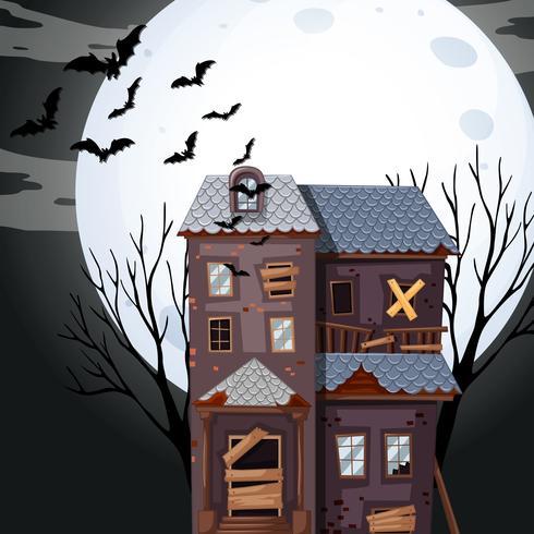 Spookhuis op volle maan nacht vector