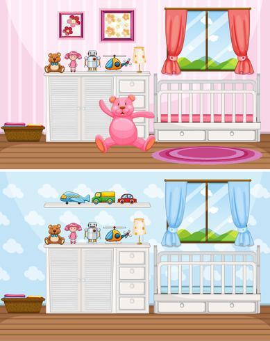 Scènes met twee slaapkamers met witte bedden vector