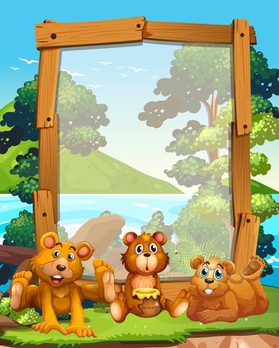 Grensontwerp met drie grizzlyberen aan het meer vector