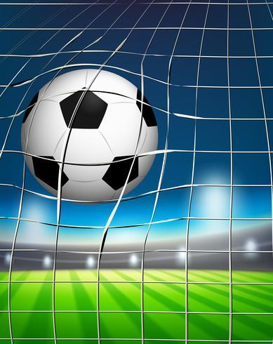 Een voetbal op het doel vector