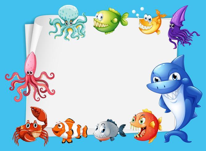 Frame ontwerp met zeedieren achtergrond vector