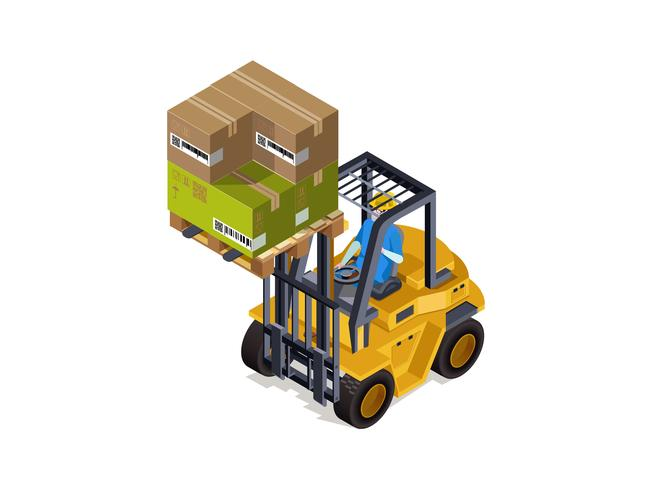 Goederen sorteren Industrieel magazijn met een lader, vrachtdienst. Productsorteringstechnologie. vector