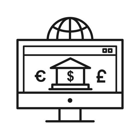 Internetbankieren SEO lijn pictogrammen vector