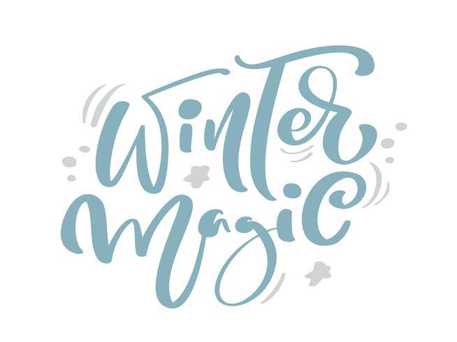 Magische blauwe Kerstmis vintage kalligrafie van de winter van letters voorziende vectortekst met het decor van de de wintertekening. Voor kunstontwerp, mockup-brochurestijl, banner-ideedekking, flyer voor boekjesafdrukken, poster vector