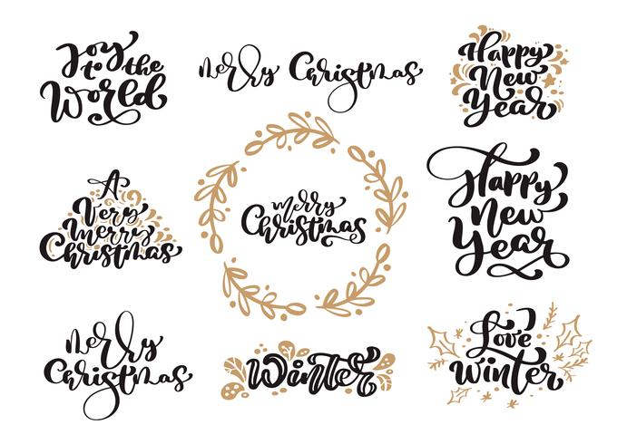 Reeks Vrolijke Kerstmis uitstekende kalligrafie die vectortekst met elementen van het de wintertekening de Skandinavische ontwerp van letters voorzien. Voor kunstontwerp, mockup-brochure, flyer voor boekjes, poster vector