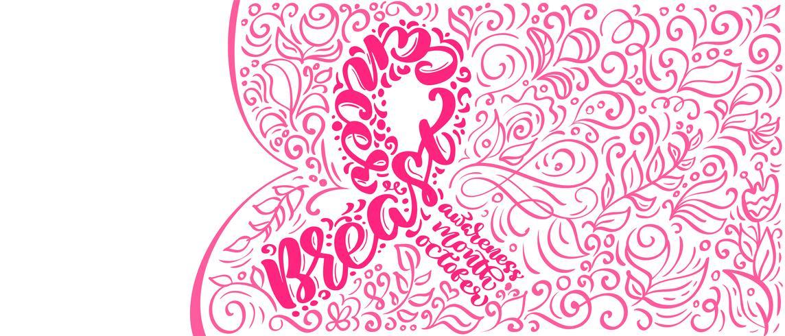 Gestileerde roze lint met vector citaat borst Canser voor oktober is Cancer Awareness maand kalligrafie belettering illustratie Posterontwerp geïsoleerd op witte achtergrond