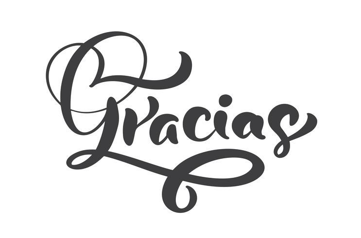 """""""Gracias"""" handgeschreven letters vector"""