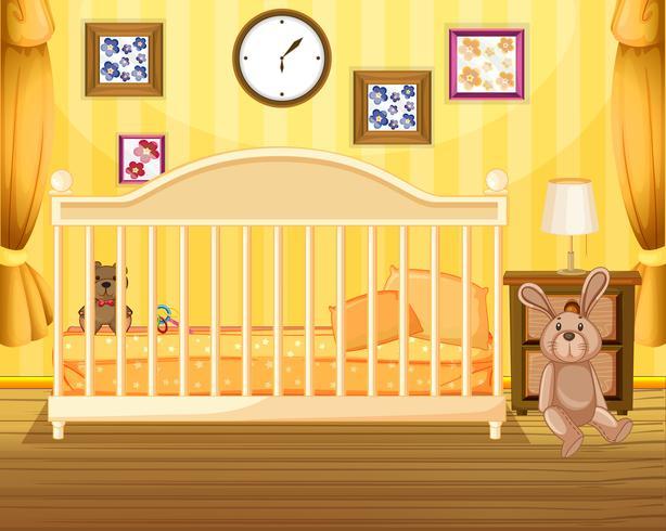 Scène van slaapkamer in geel vector
