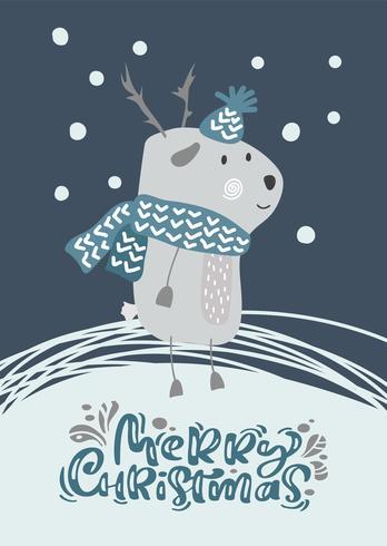De Skandinavische vectorherten van Kerstmis in hoed en sjaal met de illustratieontwerp van tekst Vrolijk Kerstmis. Leuke bambi dierlijke vector. Merry Xmas-wenskaart vector